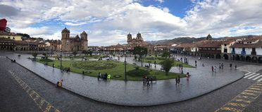 Panoramic view of the Cuzco`s main plaza stock images