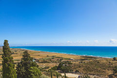 Panoramic view of the Cyprus coast stock photography