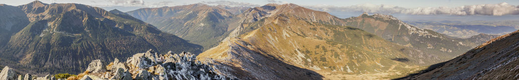 Panoramic view on Czerwone Wierchy - Tatras Mounatins. Stock Image