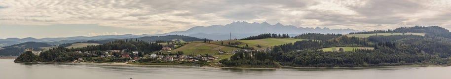 Panoramic view on Czorsztynski lake, Poland. Royalty Free Stock Photos