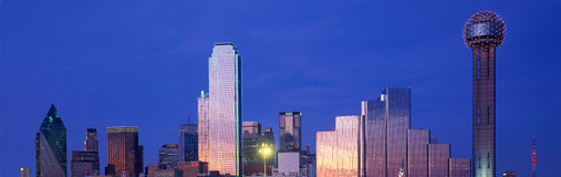 Panoramic View of Dallas, TX skyline at night with Reunion Tower Royalty Free Stock Image