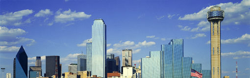 Panoramic View of Dallas, TX skyline at sunset with Reunion Tower Stock Photography