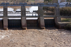 Panoramic view of the dam in Mengibar. Province of Jaen, Spain Royalty Free Stock Image