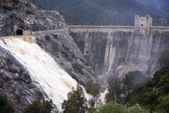 Panoramic view of the dam at the reservoir of Jandula Royalty Free Stock Photo