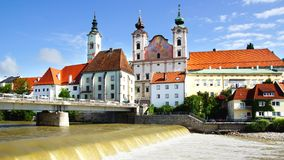 Panoramic view of the dam and the Steyr. Royalty Free Stock Photos
