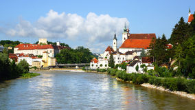 Panoramic view of the dam and the Steyr. Royalty Free Stock Images