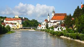 Panoramic view of the dam and the Steyr. Royalty Free Stock Photography