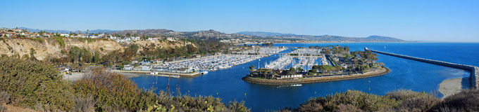 Panoramic view of Dana Point Harbor, Southern California. The panoramic image shows the spectacular Dana Point Harbor, Dana Point, California. The construction Stock Image