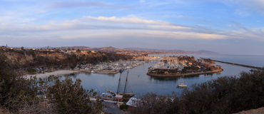 Panoramic view of Dana Point harbor at sunset Royalty Free Stock Photography