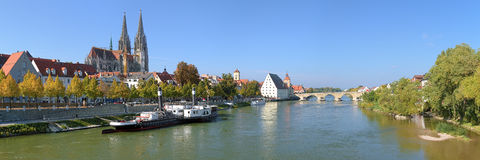 Panoramic view on Danube with Regensburg Cathedral Royalty Free Stock Photos