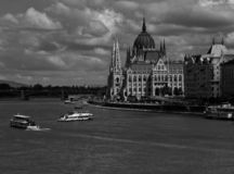Panoramic view of the Danube and river bank in Budapest stock photos