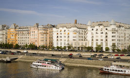 Panoramic view of danube river, budapest Royalty Free Stock Photography