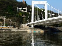 Panoramic View of the Danube river with the Elizabeth Bridge and Gellert statue stock photo