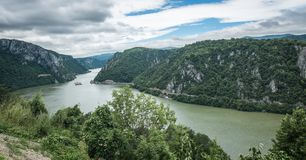 Panoramic view of the Danube River from Golo Brdo, Serbia Royalty Free Stock Images