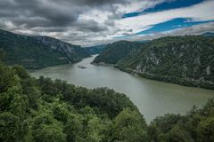 Panoramic view of the Danube River from Golo Brdo, Serbia Stock Image