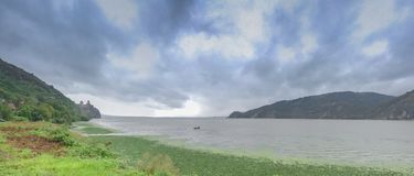 Panoramic view of the Danube River from Golo Brdo, Serbia Royalty Free Stock Photo