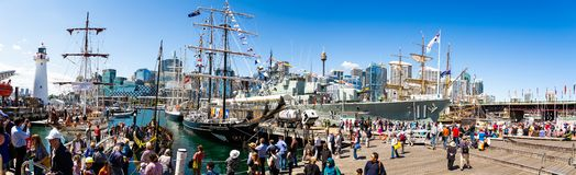Panoramic view of Darling Harbour Sydney with moored Tall Ships stock photo