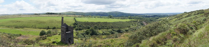 Panoramic view of Dartmoor. Landscape with derelict tin mine in Devon, England Stock Photography