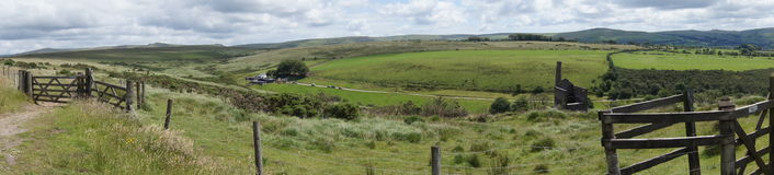 Panoramic view of Dartmoor. Landscape with derelict tin mine in Devon, England Royalty Free Stock Images