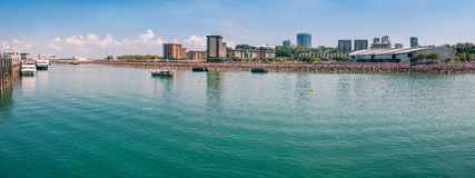 Panoramic view of Darwin wharf lagoon in Northern Territory, Australia royalty free stock image