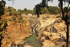A panoramic view of Dasham Falls near Ranchi in India. The panoramic view of the Dasham Falls near Ranchi in India royalty free stock photography