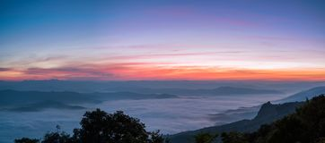 Panoramic View Dawn of Sea Mist on the top of Sierra, Doi Samer-Dao, Nan. Northern of Thailand Royalty Free Stock Photos