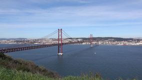 Panoramic View on the 25 de Abril Bridge in Lisbon stock footage