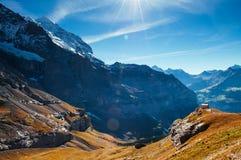 Panoramic view of deep valley near Kleine Scheidegg Hiking trail, Jungfrau region, Switzerland stock photography