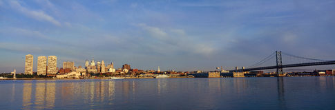 Panoramic view of Delaware River as seen from Camden New Jersey of Philadelphia, PA at sunrise Stock Photos