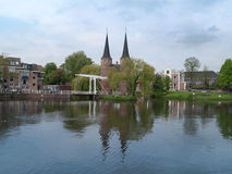 Panoramic view of Delft with east gate and typical bridge Stock Images