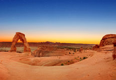 Panoramic view of Delicate Arch Stock Photos