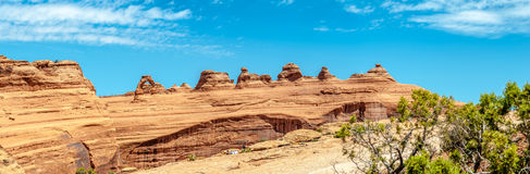 Panoramic view at the Delicate Arch Royalty Free Stock Photo
