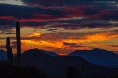 Panoramic view of desert sunset, Arizona stock photos
