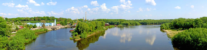 The panoramic view with Desna river Royalty Free Stock Photography