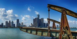 Panoramic view of Detroit city skyline taken at daylight Royalty Free Stock Image