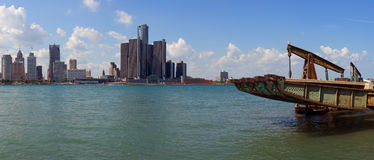 Panoramic view of Detroit city skyline taken from Windsor, Ontar Stock Photography