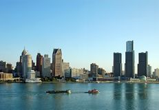 Panoramic view of Detroit daytime. Daytime skylkine of downtown and riverfront royalty free stock images