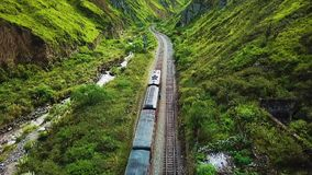 Panoramic view of the devil nose train route Alausi Ecuador. Daytime stock footage