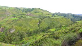 Panoramic view of the devil nose train route Alausi Ecuador. Daytime stock video