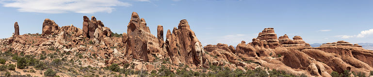 Panoramic view of Devils Garden at Arches, UT. A panoramic view of devils garden during a warm summer hike 2011. Devils garden is constantly changing due to the Royalty Free Stock Photo