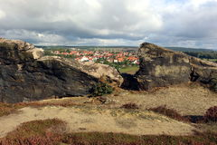 Panoramic View from Devils` Wall Teufelsmauer to Weddersleben. Parnoramic View from Devils` Wall to Weddersleben in Harz Mountains Germany Royalty Free Stock Photography
