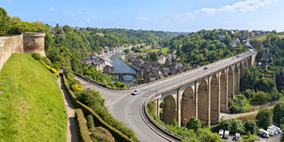 Panoramic view on Dinan, Brittany, France stock photo