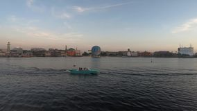 Panoramic view of Disney Springs , air balloon and amphibious car at Lake Buena Vista