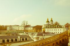 Panoramic view of the distant and near caves of the ancient Christian monastery in Kiev, Ukraine. Kiev-Pechersk Lavra Stock Photos