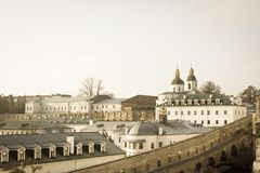 Panoramic view of the distant and near caves of Kiev Pechersk Lavra monastery in Kiev, Ukraine. Kiev-Pechersk Lavra stock photography
