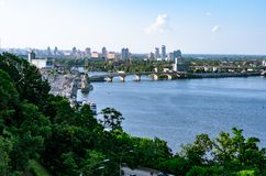 Panoramic view of district Podil and the Dnipro river in Kyiv. Summer afternoon royalty free stock photo