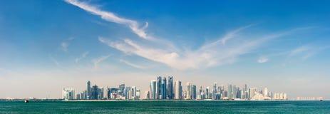 Doha Qatar skyline. Panoramic view of Doha Qatar skyline on sunny day Royalty Free Stock Images