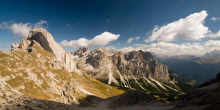 Panoramic view of dolomite alps. Rosengarten. Dolomites. Italy Stock Images