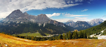 Panoramic view of dolomites, Italy alps Royalty Free Stock Photos