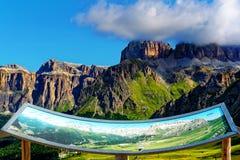 Panoramic View Dolomites Map Italy. Panoramic View Dolomites Map Italian trentino Stock Image